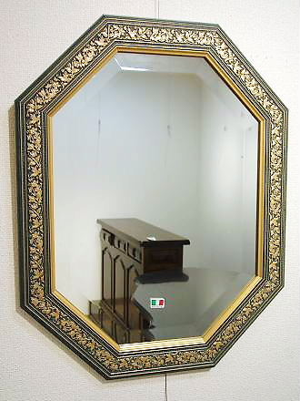 イタリア製 輸入雑貨 ミラー 八角形 ブルー ゴールド 38X48 Bertozzi ベルトッツィ リビングスタジオ 直輸入 アンティーク 808409