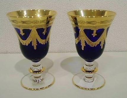 イタリア製 輸入雑貨 ワイングラス ペア セット ブルー 青 金 リビングスタジオ 直輸入 インターグラス Interglass エッチング ベネチア HKT-095B 送料無料