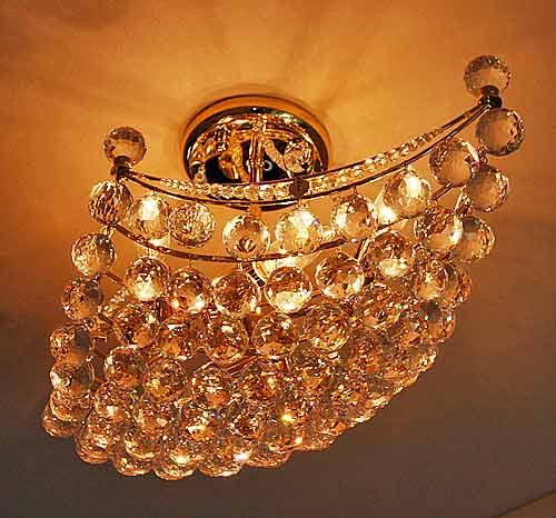 輸入雑貨 繊細なクリスタルボールが美しいシーリングランプ 照明 送料無料