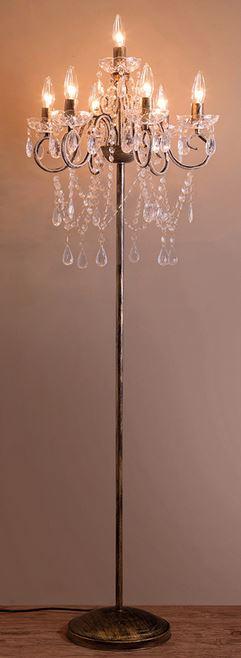 輸入家具 照明 フロアスタンド フロアライト LED クリスティ ランプ シャンデリア ゴールド リビングスタジオ イタリア ゴージャス エレガント 姫系 アンティーク 67D3051483