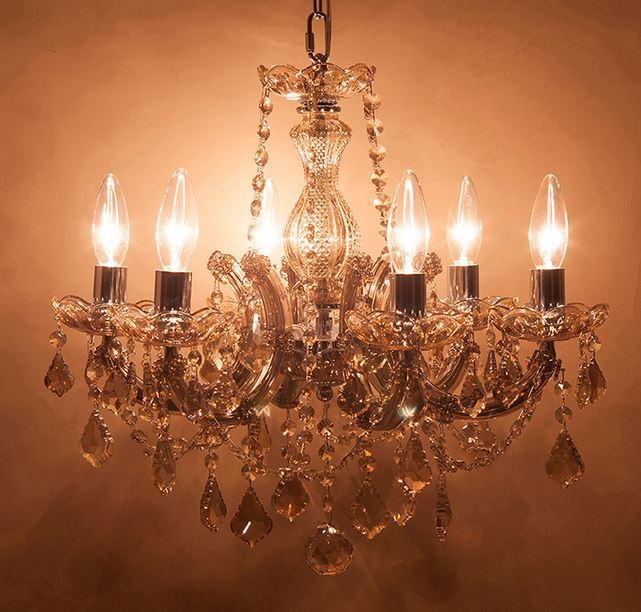 輸入家具 シャンデリア 6灯 クリスタルガラス シャンパンゴールド リビングスタジオ エレガント イタリアン フレンチ 照明 姫系 ゴージャス LED対応 GLXY-6CP