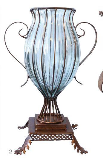 輸入雑貨 Metal Glass Vase ビクトリア フラワーベース 花瓶 アイアン ガラス ハンドメイド アンティーク ヨーロピアン PGC-20 送料無料
