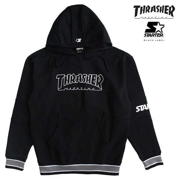 STARTER BLACK LABEL(スターターブラックレーベル)×THRASHER(スラッシャー)コラボ メンズ 裏起毛プルオーバーパーカー スウェット