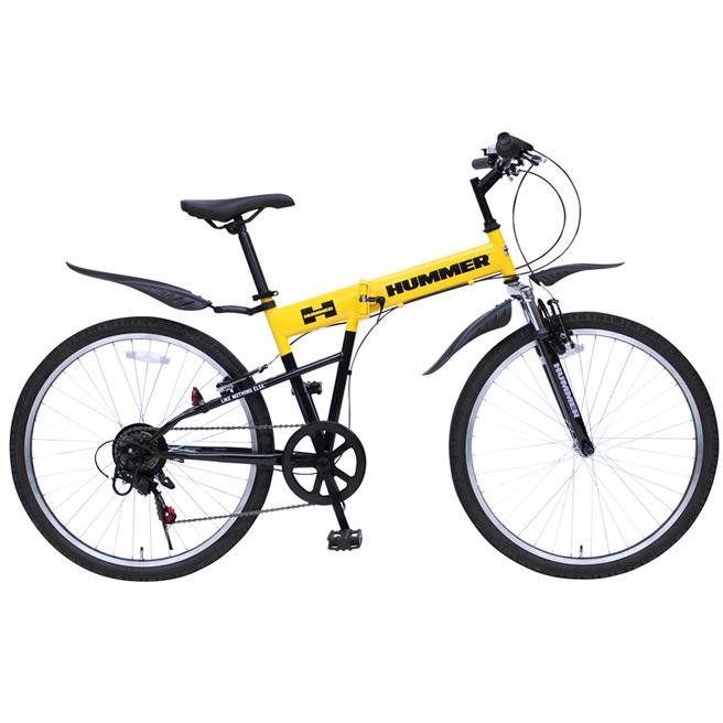 26インチ 折りたたみ自転車 HUMMER(ハマー) FサスFD-MTB266SE MG-HM266E 6段ギア付き マウンテンバイク MTB イエロー [直送品]
