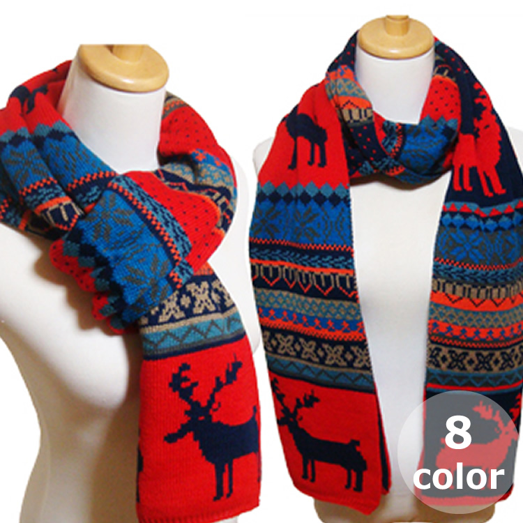 Auc Loveplus Reversi Nordic Pattern Long Scarf Large Thick Thin