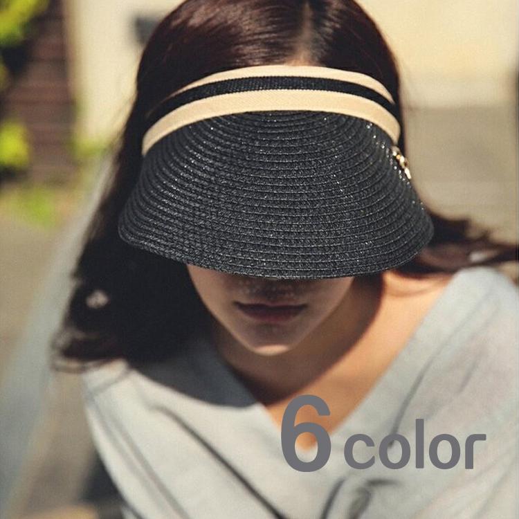 帽子 ナチュラル サンバイザー 帽子 麦わら帽子 レディース 婦人帽子 リボン 夏 UV キャップ UVカット帽子 100% 自転車 通勤 ストローハット レディース帽子 春夏 D10