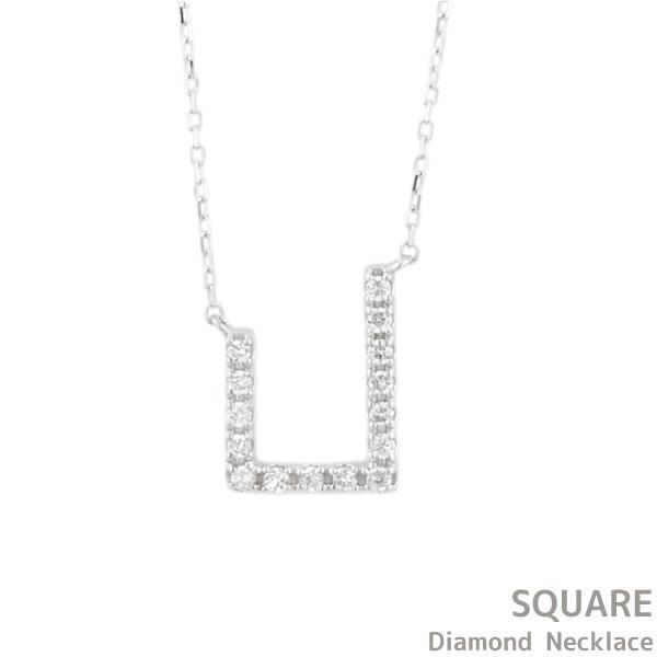 ネックレス レディース ダイヤモンド プラチナ900 天然ダイヤモンド 華奢 スクエアモチーフ 四角形 PT900 結婚式 パーティー 2次会 誕生日 ギフト プレゼント 自分ご褒美ジュエリー