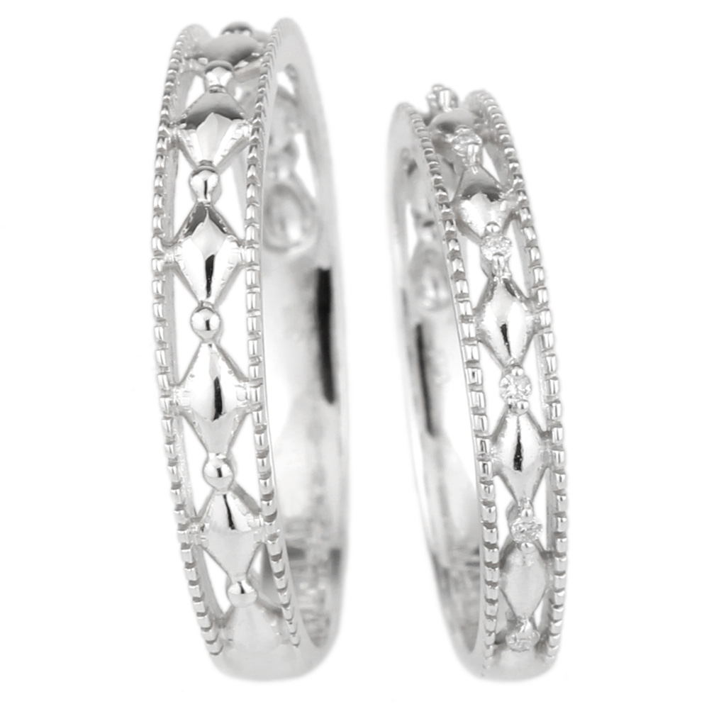 18K K18ゴールド 【送料無料】ペアリング 透かし模様 結婚指輪 天然ダイヤモンド K18WG ギフト マリッジ プレゼント