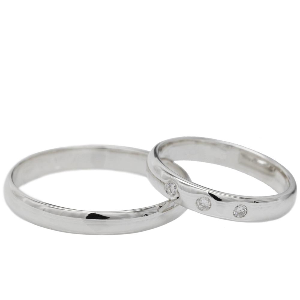 婚約指輪  【送料無料】ペアリング トリロジー ダイヤリング 結婚指輪 天然ダイヤモンド K18WG マリッジ