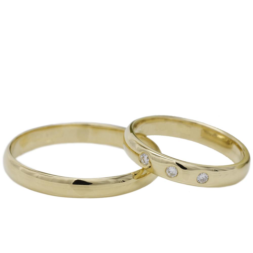 【送料無料】ペアリング スリーストーン ダイヤモンドリング 結婚指輪 K18YG マリッジ プレゼント 誕生日