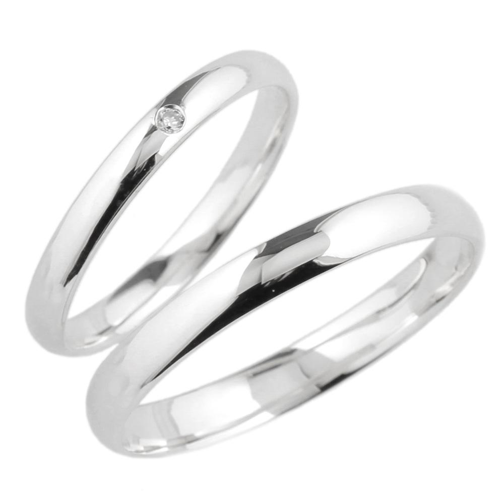 安心と信頼 ペアリング一粒石結婚指輪マリッジk18ホワイトゴールド 送料無料 ペアリング 一粒石 ダイヤリング 結婚指輪 K18WG 引出物 天然ダイヤモンド