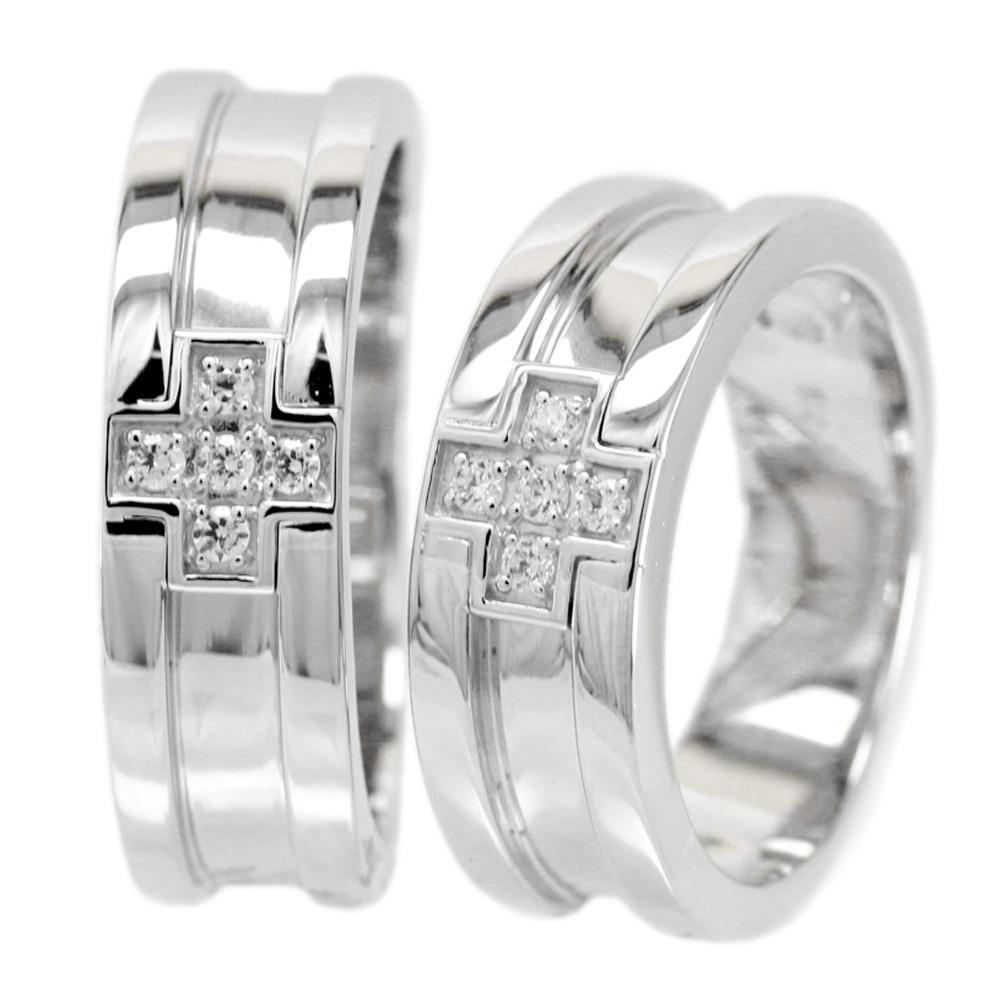 プラチナ 幅広 平打ち クロス ダイヤモンド リング 誕生日 記念日 Pt900 メモリアル ブライダルリング ペアリング プレゼント ギフト 結婚指輪 2本