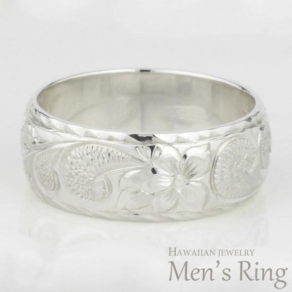 ハワイアンジュエリー ハワイアン メンズ リング プラチナ PT900 地金リング 彫金 手彫り 結婚指輪 エンゲージリング ハンドメイド ハワイ ブライダル