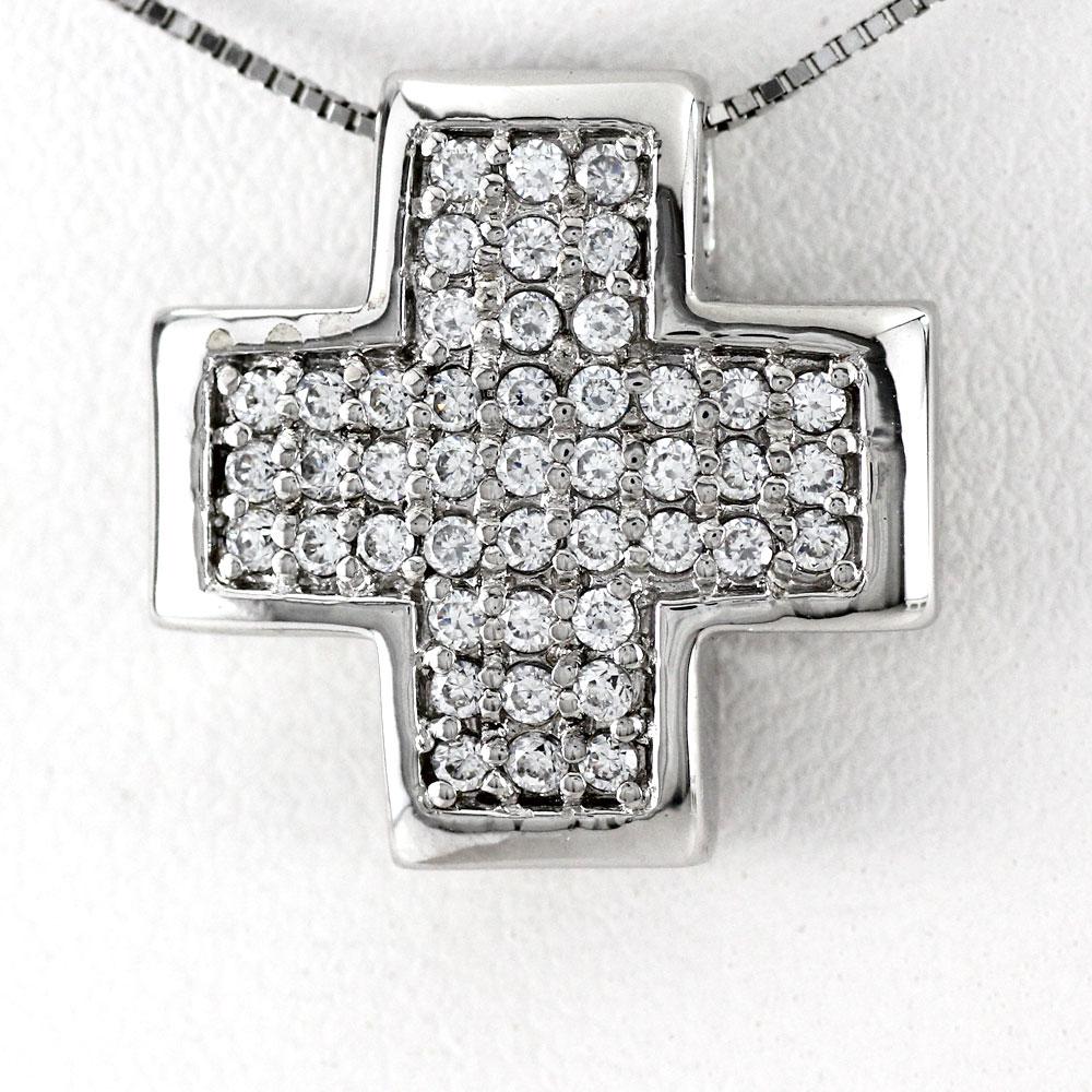 プラチナ ネックレス ダイヤモンド ペンダント レディース クロス 十字架 パヴェ 0.5カラット pt900