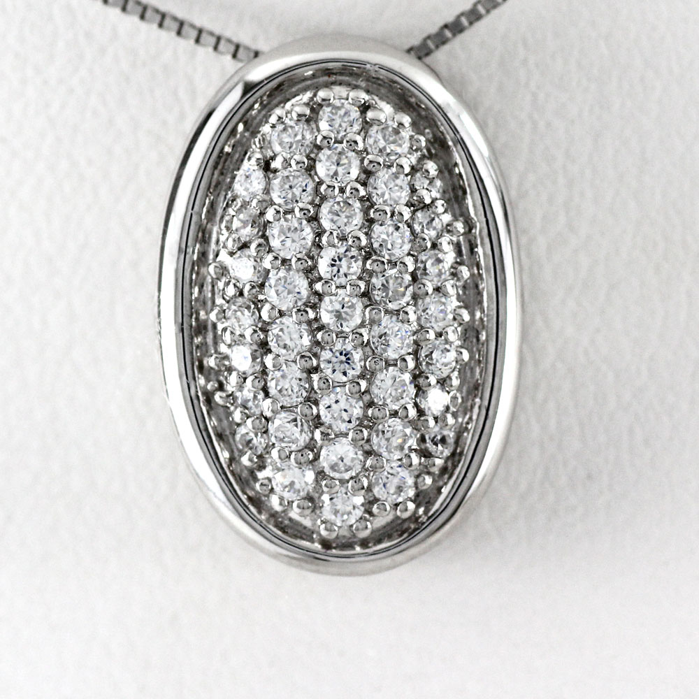 ネックレス ダイヤモンド ペンダント レディース オーバル 2ウェイ 2Way パヴェ 0.5カラット ゴールド k18 18k 18金