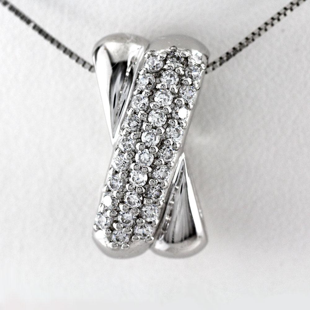 プラチナ ネックレス ダイヤモンド ペンダント レディース クロス X字 2ウェイ 2Way パヴェ 0.5カラット pt900