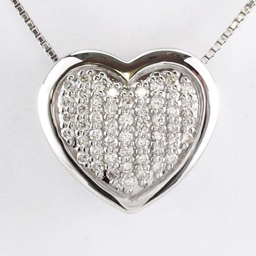 ハート ネックレス ダイヤ ペンダント レディース ダイヤモンド パヴェ ゴージャス プラチナ pt900 0.5カラット