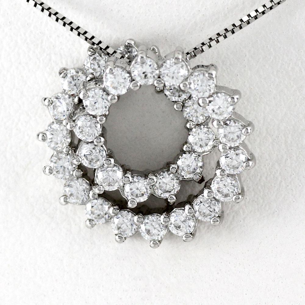 プラチナ ネックレス ダイヤモンド ペンダント レディース サークル うず ゴージャス 1.0カラット pt900