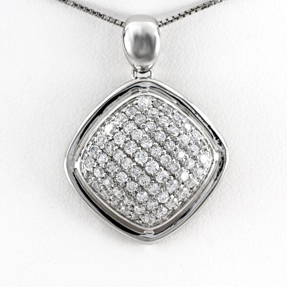 プラチナ ネックレス ダイヤモンド ペンダント レディース パヴェ スクエア ゴージャス アンティーク 1.0カラット pt900