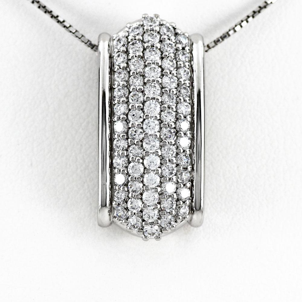 プラチナ ネックレス ダイヤモンド ペンダント レディース パヴェ ゴージャス アンティーク 1.0カラット pt900