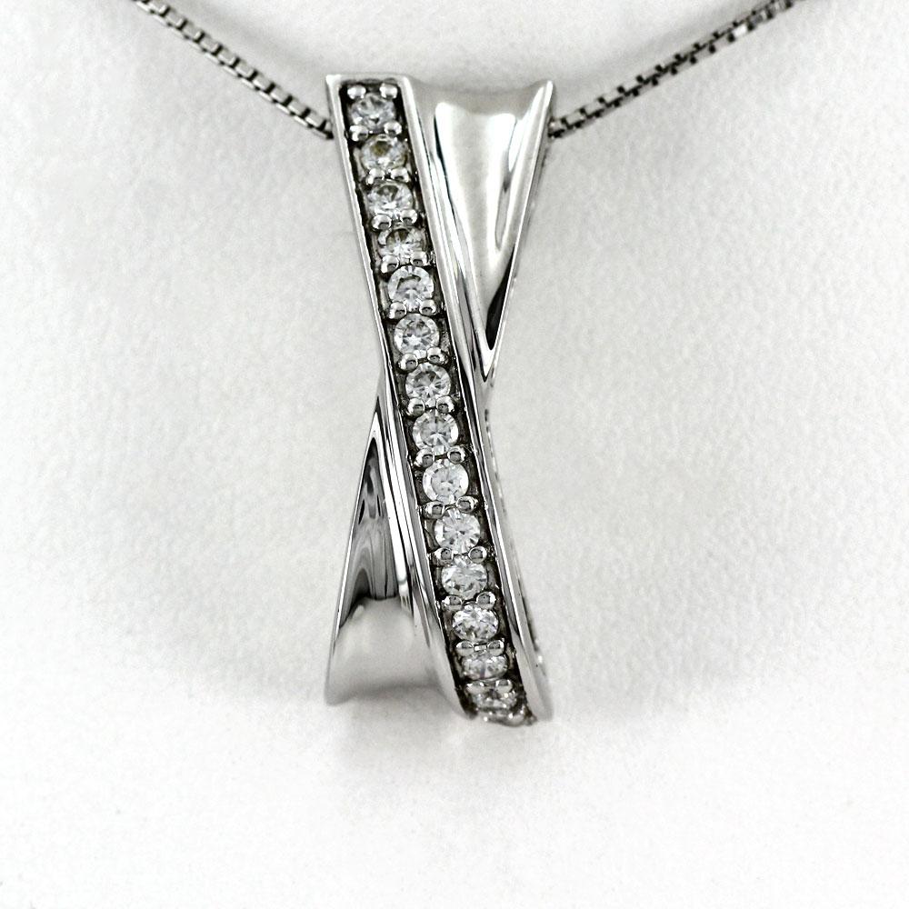 ネックレス ダイヤモンド ペンダント レディース クロス X字 ゴールド k18 18k 18金