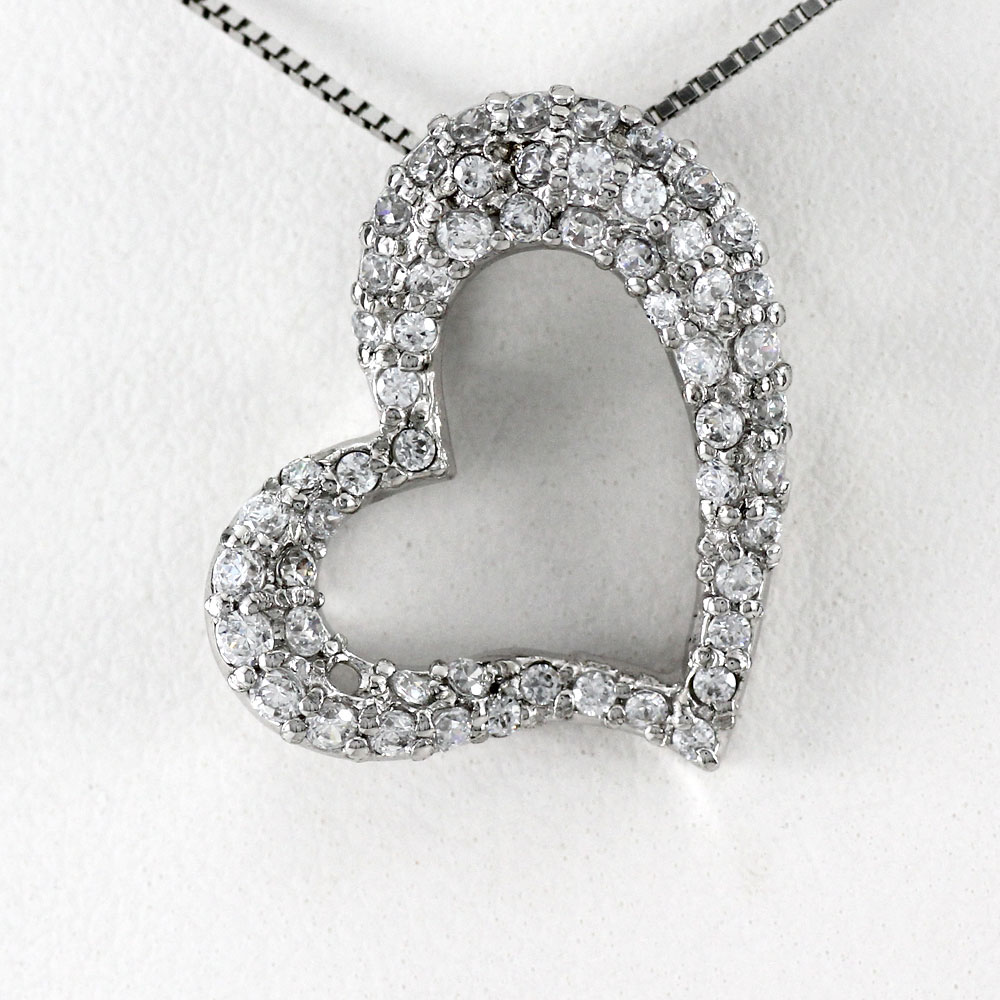 ハート ネックレス ダイヤ ペンダント レディース ダイヤモンド プラチナ オープンハート パヴェ pt900