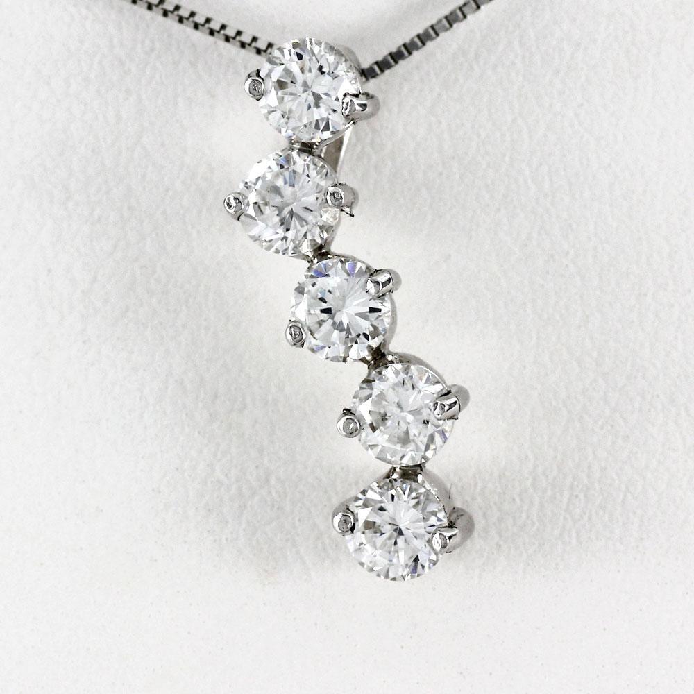 プラチナ ネックレス ダイヤモンド ペンダント レディース シンプル ヌーディー ゴージャス 1.0カラット pt900