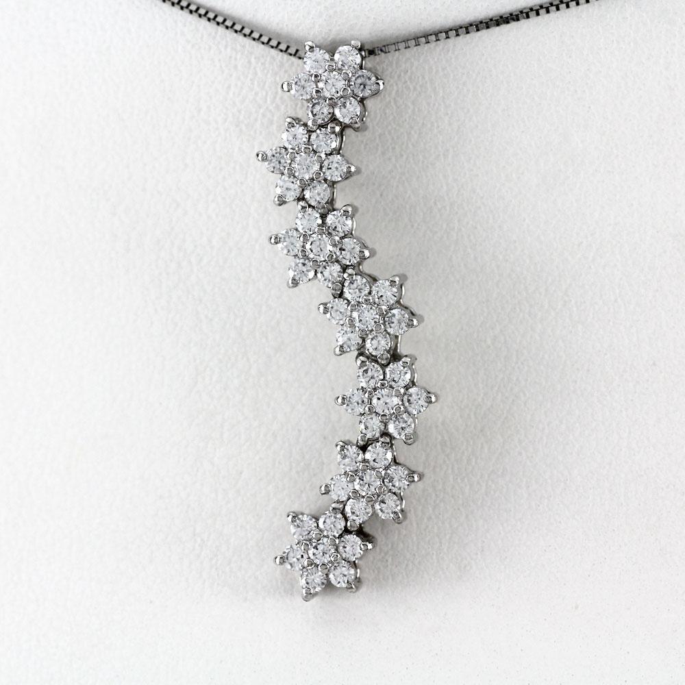 プラチナ ネックレス ダイヤモンド ペンダント レディース フラワー 花 スター 星 ゴージャス 1.0カラット pt900