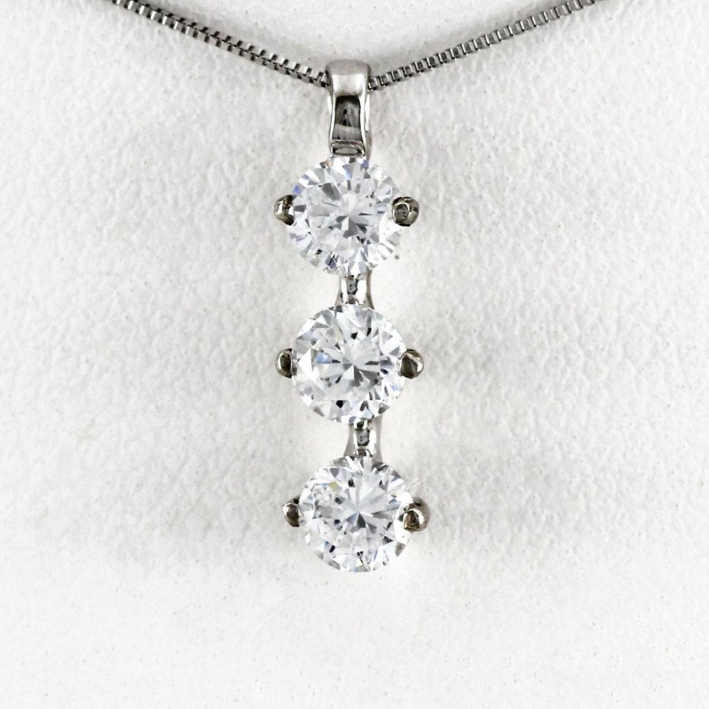 プラチナ ネックレス ダイヤモンド ペンダント レディース トリロジー スリーストーン シンプル pt900