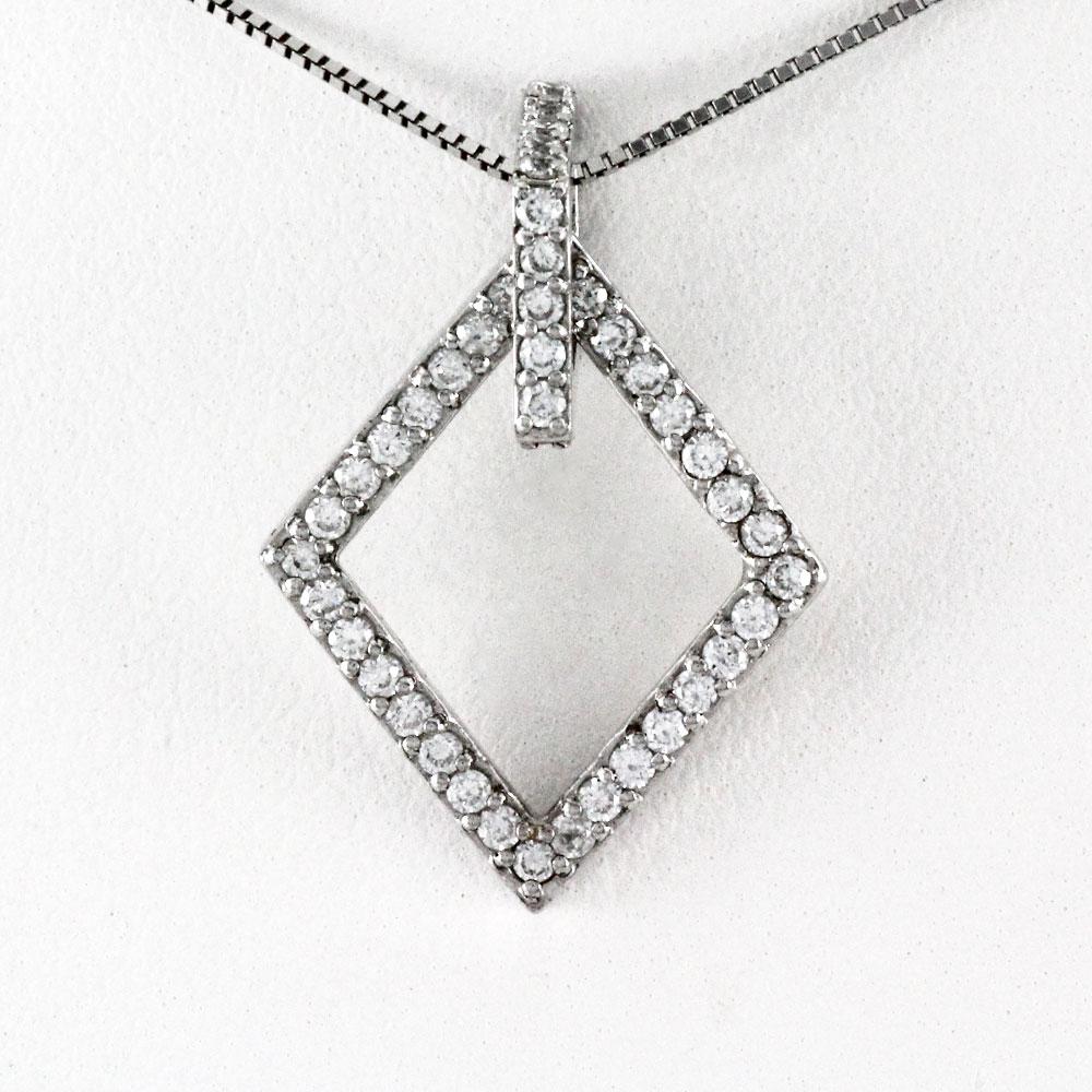ネックレス ダイヤモンド ペンダント レディース ひし形 スクエア ダブル 0.5カラット ゴールド k18 18k 18金