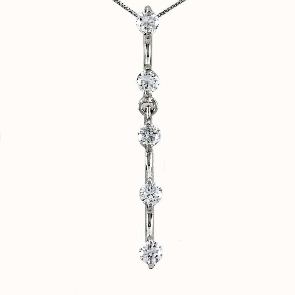 ダイヤモンド ネックレス 一粒 プラチナ ペンダント レディース シンプル ストレート ロング 揺れる ブラ Pt900