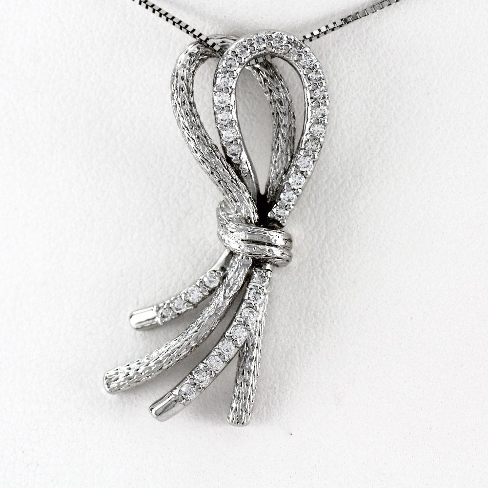 プラチナ ネックレス ダイヤモンド ペンダント レディース リボン アンティーク ひも Pt900