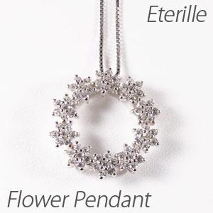 プラチナ ネックレス ダイヤモンド ペンダント レディース フラワー 花 サークル pt900 1.0カラット
