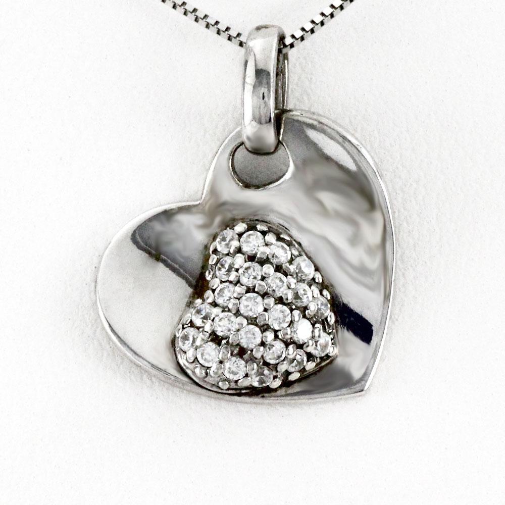 ハート ネックレス ダイヤ ペンダント レディース ダイヤモンド プラチナ パヴェ ダブル 揺れる ブラ pt900