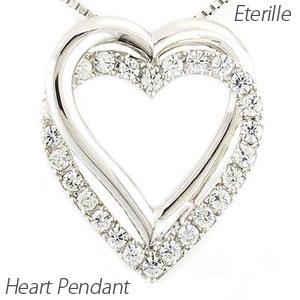 ハート ネックレス ダイヤ ペンダント レディース ダイヤモンド 2連 ダブル 地金 0.5カラット ゴールド k10 10k 10金