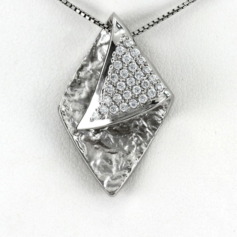 ネックレス ダイヤモンド ペンダント レディース 地金 パヴェ ツヤ消し ホーニング ゴールド k18 18k 18金