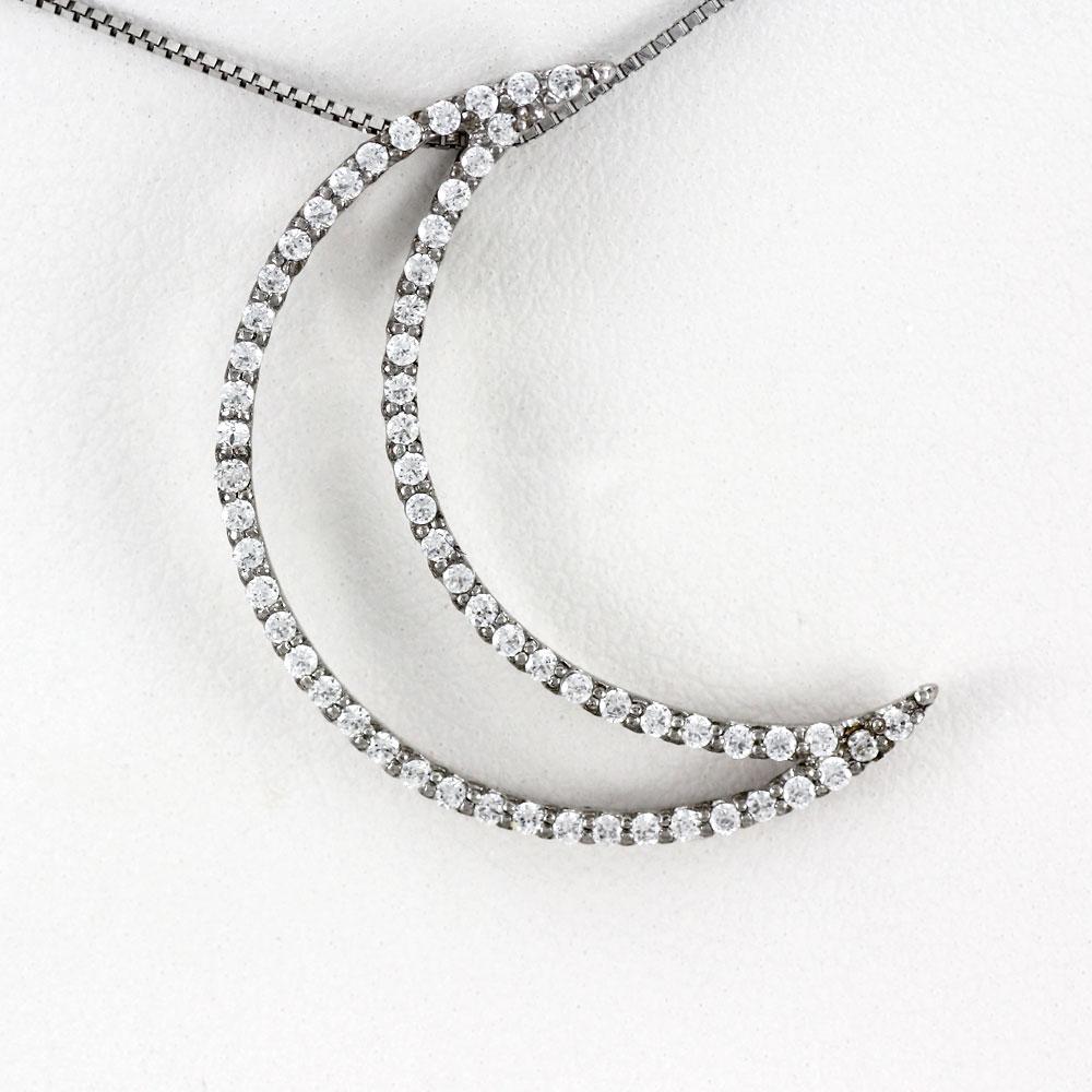 ネックレス ダイヤモンド ペンダント レディース 月 ムーン 三日月 ゴージャス 0.5カラット ゴールド k18 18k 18金