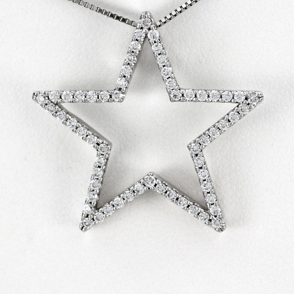 ネックレス ダイヤモンド ペンダント レディース スター 星形 0.5カラット ゴールド k18 18k 18金