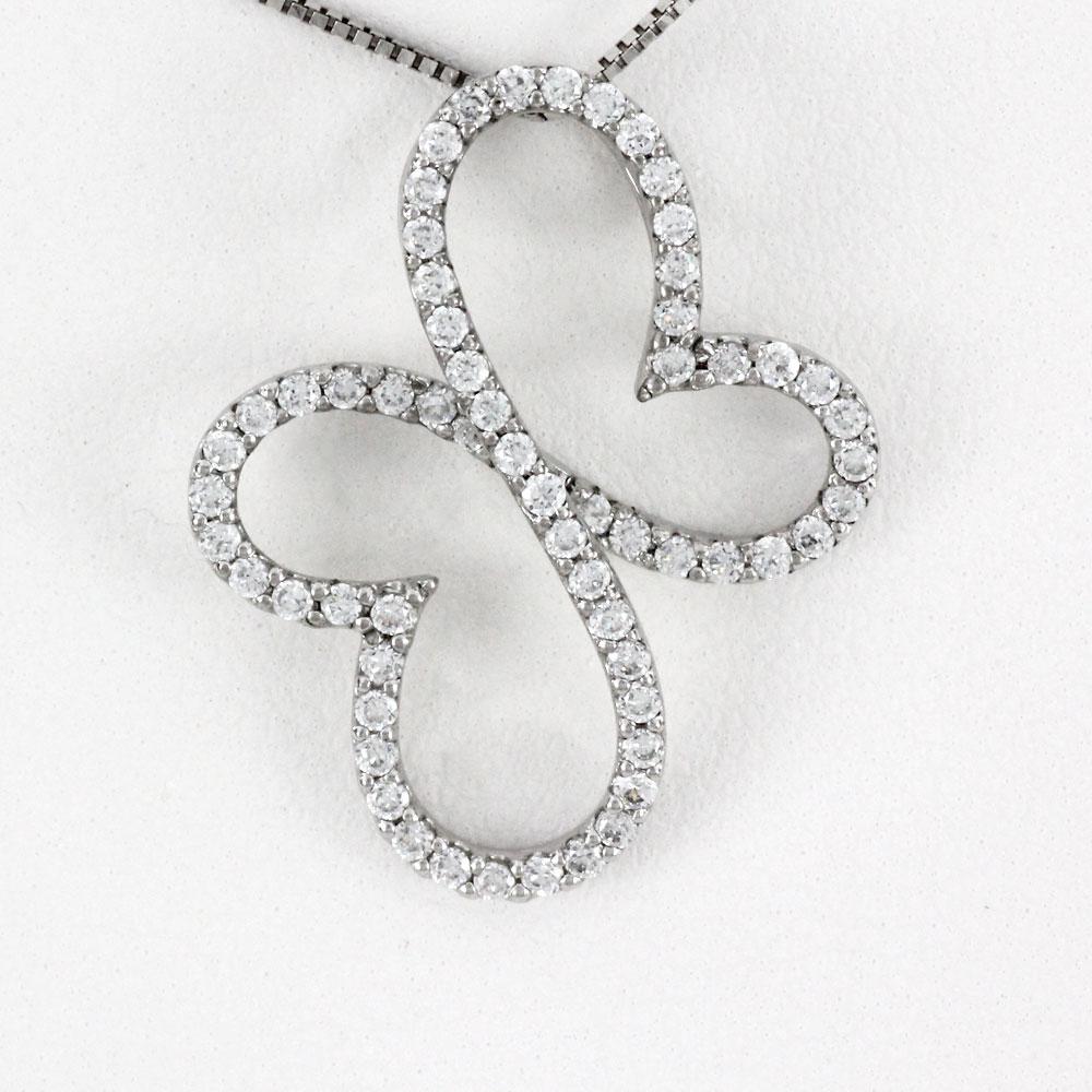 プラチナ ネックレス ダイヤモンド ペンダント レディース 蝶 蝶々 バタフライ ゴージャス 0.5カラット pt900