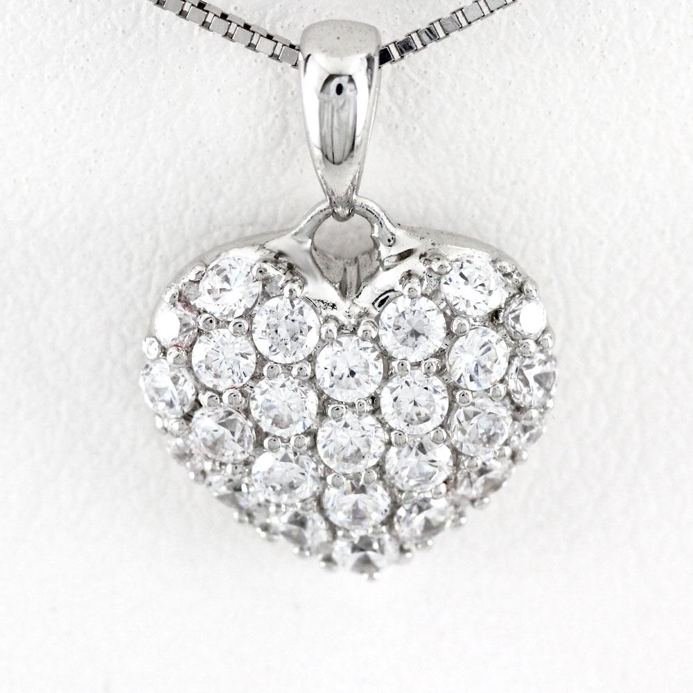ハート ネックレス ダイヤ ペンダント レディース ダイヤモンド プラチナ パヴェ ゴージャス 0.5カラット pt900