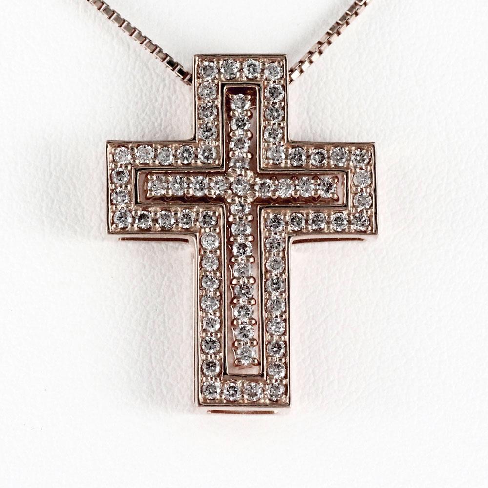 ネックレス メンズ クロス ダイヤモンド 十字架 ゴールド k18 18k 18金