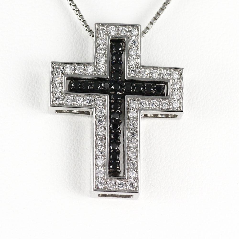 ブラックダイヤモンド ネックレス ペンダント レディース クロス 十字架 3way 3ウェイ プラチナ pt900