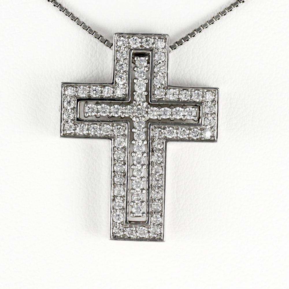 ネックレス メンズ クロス ダイヤモンド 十字架 プラチナ