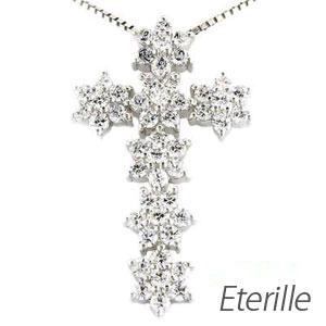 プラチナ ネックレス ダイヤモンド ペンダント レディース クロス 十字架 スノー ゴージャス pt900 1.0カラット