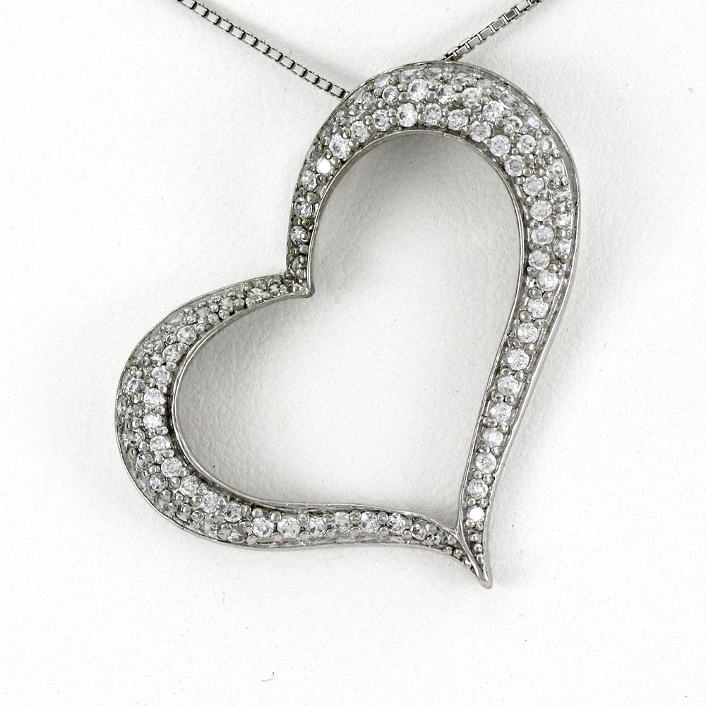 ハート ネックレス ダイヤ ペンダント レディース ダイヤモンド プラチナ オープンハート パヴェ ゴージャス pt900