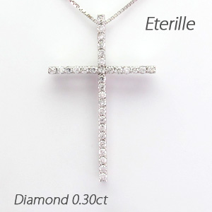 プラチナ ネックレス ダイヤモンド ペンダント レディース クロス 十字架 シンプル pt900 0.3カラット