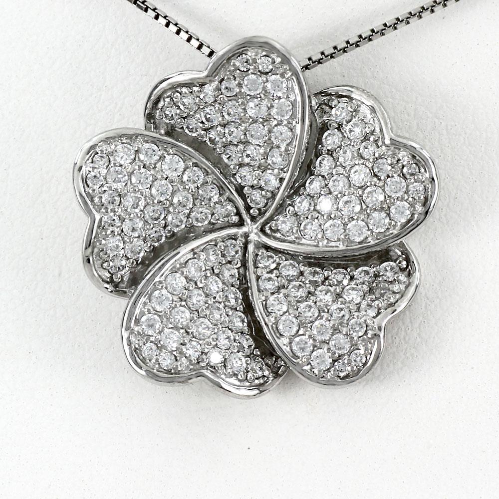 プラチナ ネックレス ダイヤモンド ペンダント レディース フラワー 花 パヴェ ゴージャス 1.0カラット pt900