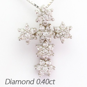 プラチナ ネックレス ダイヤモンド ペンダント レディース クロス 十字架 スノー pt900 0.4