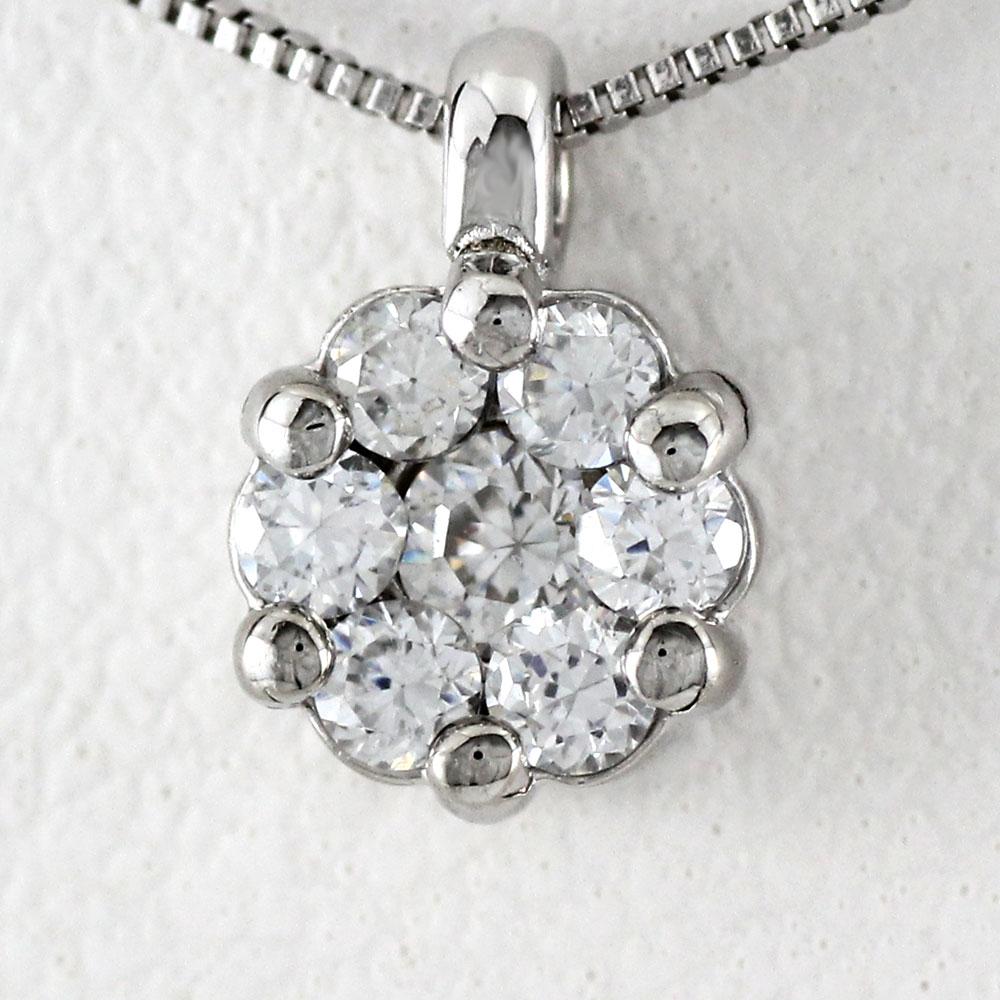 ネックレス ダイヤモンド ペンダント レディース フラワー 花 ミステリーセッティング シンプル ゴールド k18 18k 18金