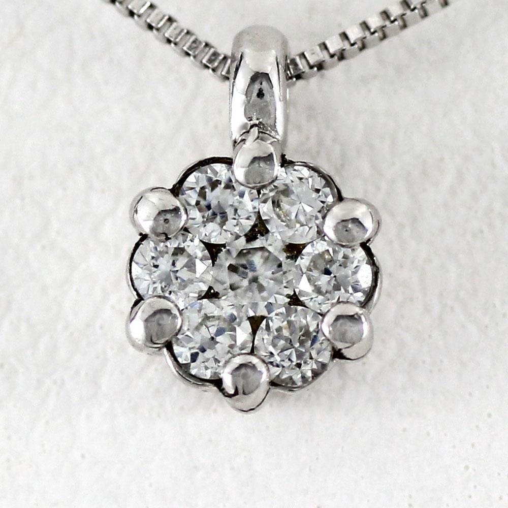 プラチナ ネックレス ダイヤモンド ペンダント レディース フラワー 花 ミステリーセッティング シンプル pt900